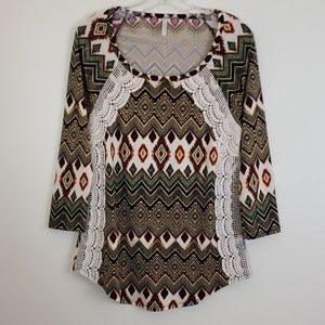 Passport Tribal & Crocheted Lace Top - M